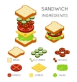 sandwich ingredients in 3D isometric style vector image