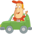 tourist driving car wave vector image