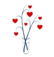 Two branches with hearts vector image vector image