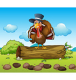 A turkey above a log vector image
