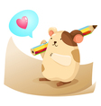 cute hamster with note paper vector image
