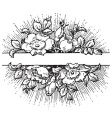 antique flowers banner engraving vector image vector image