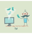 TV takes money from the man vector image vector image