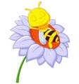 Little bee cartoon sleeping on the big flower vector image vector image