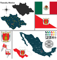Map of Tlaxcala vector image vector image