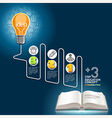 Education template Light bulb and doodles icons vector image vector image