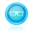 Blue shiny glasses icon with reflection vector image