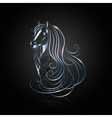 Blue steel abstract horse vector image