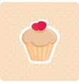 Cake with white polka dots on pastel background vector image