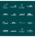 Ship and boats icons set outline vector image