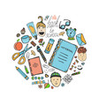 Sketch school stationery set and children icons vector image