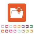 The folder icon File download symbol Flat vector image