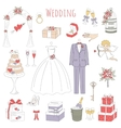 set of hand drawn wedding icons vector image