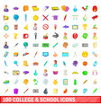 100 college and school icons set cartoon style vector image vector image