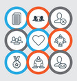 set of 9 communication icons includes follow vector image