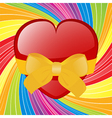 Valentine heart with bow on swirl background vector image