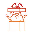 cute santa claus in giftbox character vector image