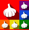 garlic simple sign set of icons with flat vector image