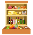 Different kind of food on the shelves vector image