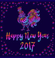 a rooster with spread wings colored rainbow colors vector image