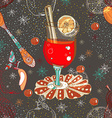 Seamless doodle background with mulled warm wine vector image