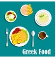 Greek dishes of mediterranean cuisine vector image vector image