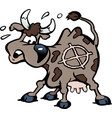 cartoon of a a scared cow in the shot line vector image