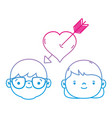 line couple head together with heart love symbol vector image