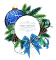 Christmas card with blue bauble vector image