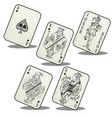 playing cards jack queen king ace and joker vector image