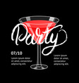 cocktail party martini glass hand written vector image