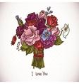 Vintage Doodle Wedding Bouquet vector image