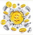 The gold dollar coin breaking through the concrete vector image vector image