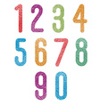 Retro style geometric rounded numbers set with vector image
