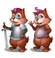 badger in clothes and knight armor with sword vector image