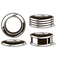 black and white graphic metal details set vector image