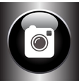 Camera simple icon on black button vector image