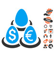 currency deposit diversification icon with love vector image