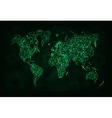 Map silhouette of lights on dark background vector image
