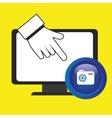 laptop camera hand icon vector image
