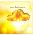 Background with two gold hearts vector image vector image