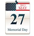 Calendar for Memorial Day vector image vector image