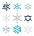 set of nine snowflakes vector image