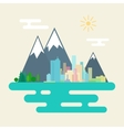 City and the Forest Against Mountains vector image