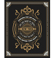 premium card baroque frame and floral details vector image