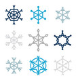 set of nine snowflakes vector image