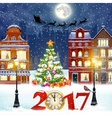 Christmas winter city street vector image