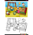 kids on playground coloring book vector image