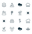 set of 16 world icons includes raindrop vector image