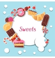 Background with colorful sticker candy sweets and vector image